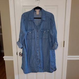 Philosophy XL Chambray Denim Tencel Tunic Dress